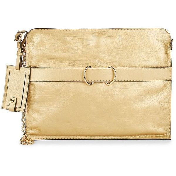 VALENTINO GARAVANI Women's Leather Gold Clutch Bag ($1,020) ❤ liked on Polyvore featuring bags, handbags, clutches, no color, valentino handbags, beige leather purse, gold handbags, beige clutches and chain strap purse