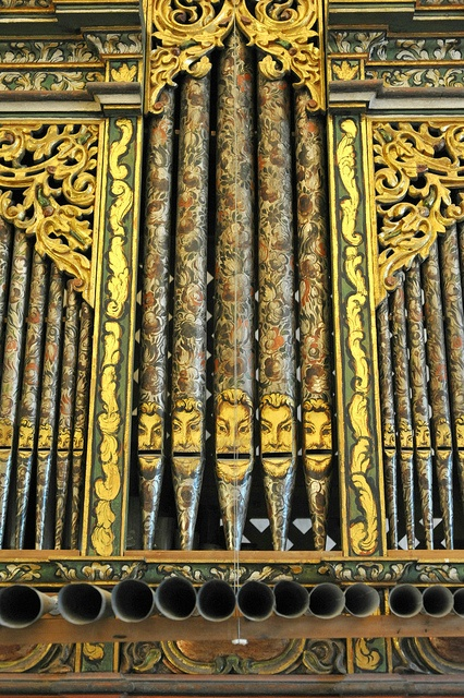 Highly decorated organ pipes in the Church of San Jeronimo Tlacochahuaya in Oaxaca, Mexico.  Too much whimsey for me, seems irreverent.
