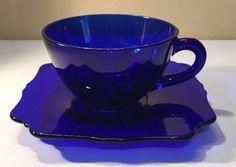 Vintage Paden City Crow's Foot Cobalt Blue Depression Cup & Square Saucer…