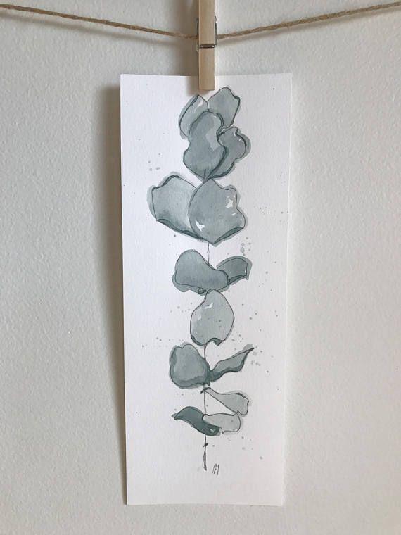 Illustration aquarelle  Eucalyptus  Fait à la main