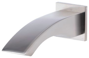 ALFI Brushed Nickel Curved Wallmounted Tub Filler Bathroom Spout - contemporary - Bathtub Faucets - Luxury Bath Collection