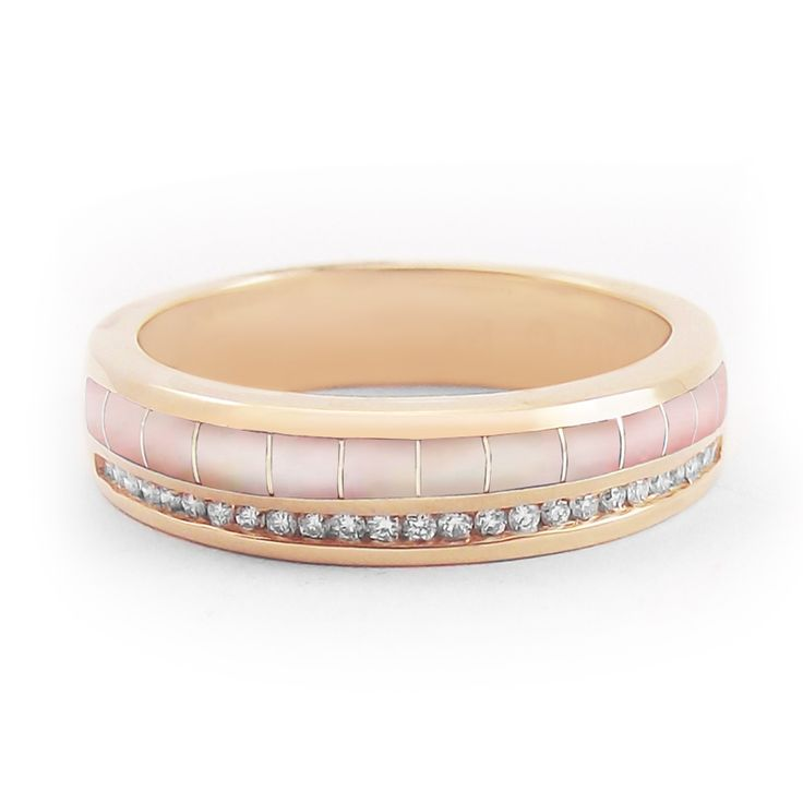 """""""Lustrous Rose - River"""" Women's Pink Mother of Pearl Wedding Band in Rose Gold #bridaltransformed"""