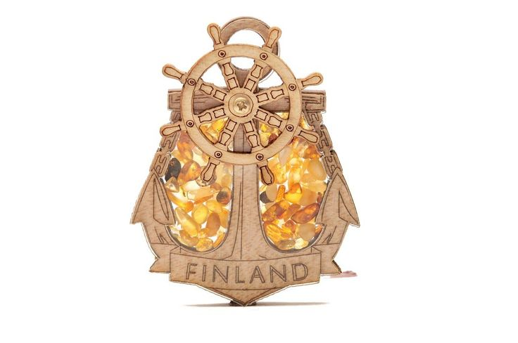 FRIDGE MAGNET FILLED WITH NATURAL BALTIC AMBER (FINLAND) #amber #bernstein #gift #magnet #finland #souvenir #baltic #wooden #share