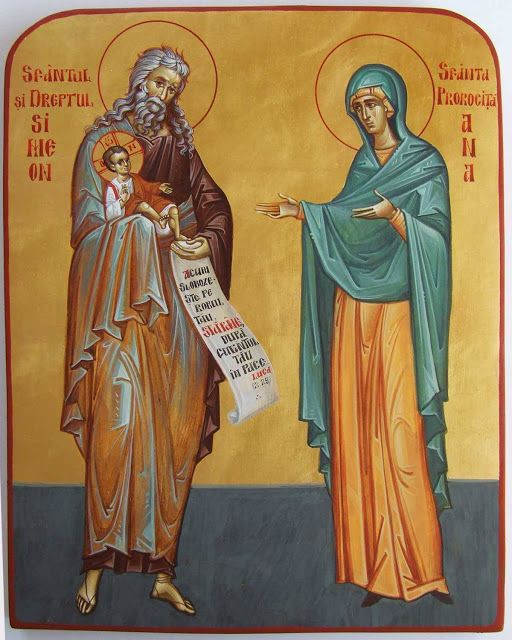St. Simeon the God-receiver and St. Anna the Prophetess More icons of prophets: http://whispersofanimmortalist.blogspot.com/2015/04/icons-of-prophets-1.html