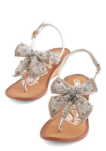 Kickin' and Gleamin' Wedge in Silver | Mod Retro Vintage Sandals | ModCloth.com