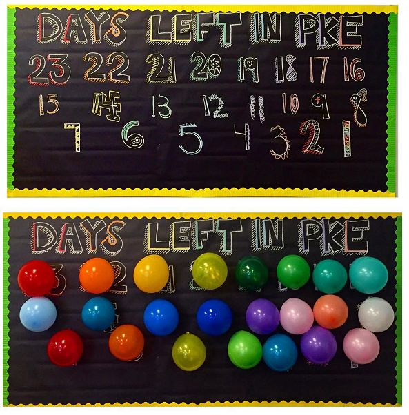 "Cut out letters that say ""Lets end the year with a bang!"" and tape up the number of balloons as there is days left until summer. Each day have a student pop a balloon…I can just imagine there excitement as the days go by! Made by Kirsten Joy (a 2nd grade teacher.) She said ""Every …"