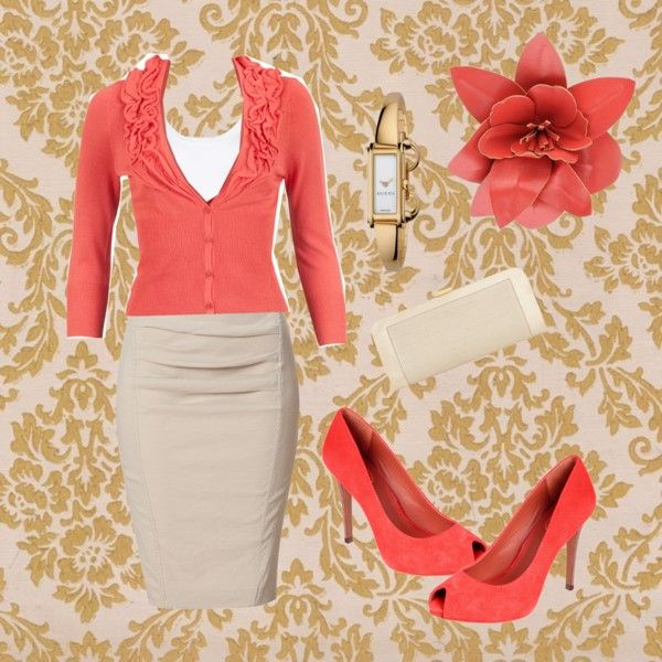 khaki skirt - coral cardigan. I absolutely LOVE these colors together. I would pair it with an a line skirt tho.