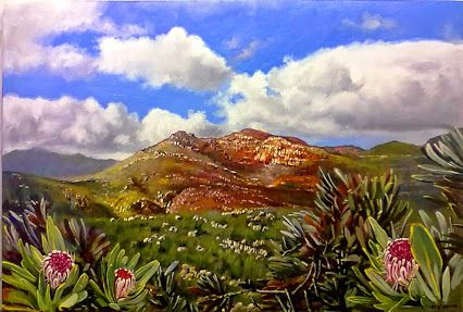 #5 -  View on the Swartberg Pass - 600 x 900mm (24 x 36 inches)  - oils and brush on board - Delivery by  international parcel post. total price incl.del. = $300. -Thank You.