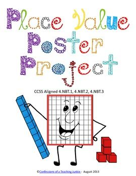 This fun and engaging project serves as a culmination of a place value unit.  The file includes student/parent directions and a grading score sheet.  It is sure to be a hit with your students!CCSS Aligned 4.NBT.1, 4.NBT.2, 4.NBT.3Place Value Poster Project by Confessions of a Teaching Junkie is licensed under a Creative Commons Attribution 3.0 Unported License.
