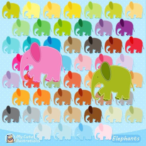 Elephant Clipart, Baby Shower, commercial use, vector graphics