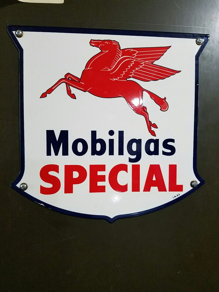 My vintage Mobilgas Pump Plate Porcelain Sign