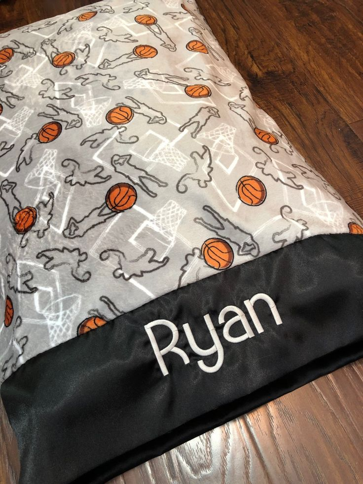 Personalized Pillow Case Basketball Fan Gift, Minky Pillowcase Personalized, Monogrammed Basketball Team Gifts, Boyfriend Sports gift