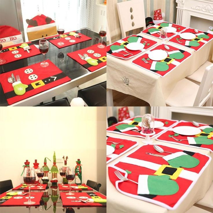 Description: 100% Brand new and high quality With cute glove knives and forks cover,tidy and safe. Red table mat enhances Christmas holiday's atmosphere. Best choice to decorate your table settings with this. Unique table placemat in Christmas and other holidays. It also can be used as a gift. Material:Non-woven Color:As picture shows(Red) Style:Single gloves, two gloves Size(Approx.):45*34cm Package Includes: 1 x Christmas Dinner Table Mat Note: Please allow 1-2cm errors due to ma...