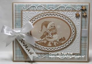 Card by DT member Anja with Craftables Basic Oval (CR1333),  Design Folder Extra Regency (DF3415) and Creatables Winter Wishes (LR0187) by Marianne Design