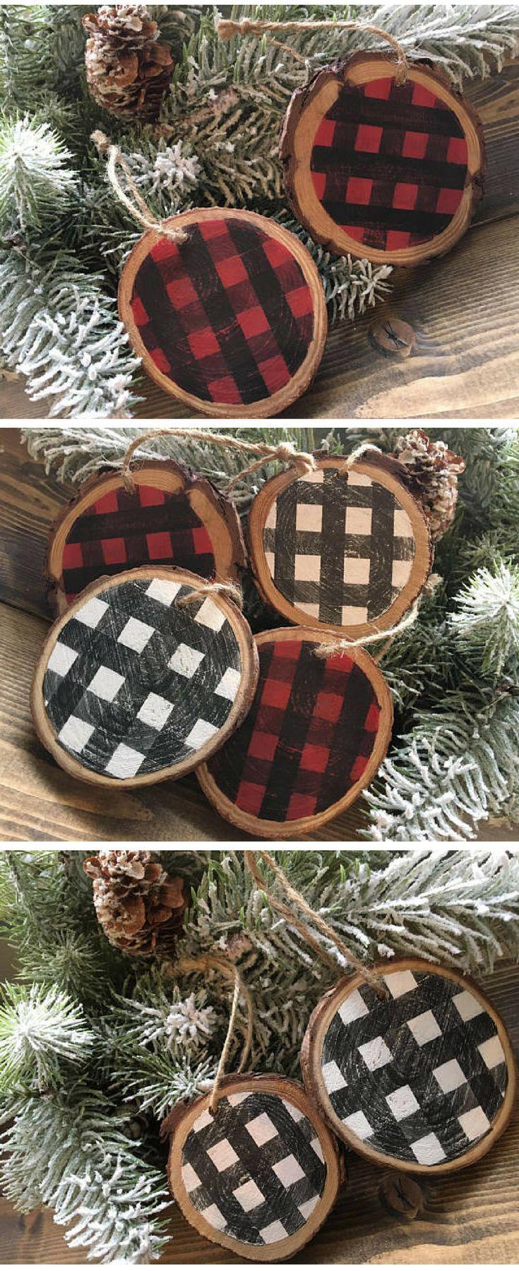 Set Of 8 Black And White Buffalo Check Plaid Farmhouse Christmas Ornaments Luggage Tags