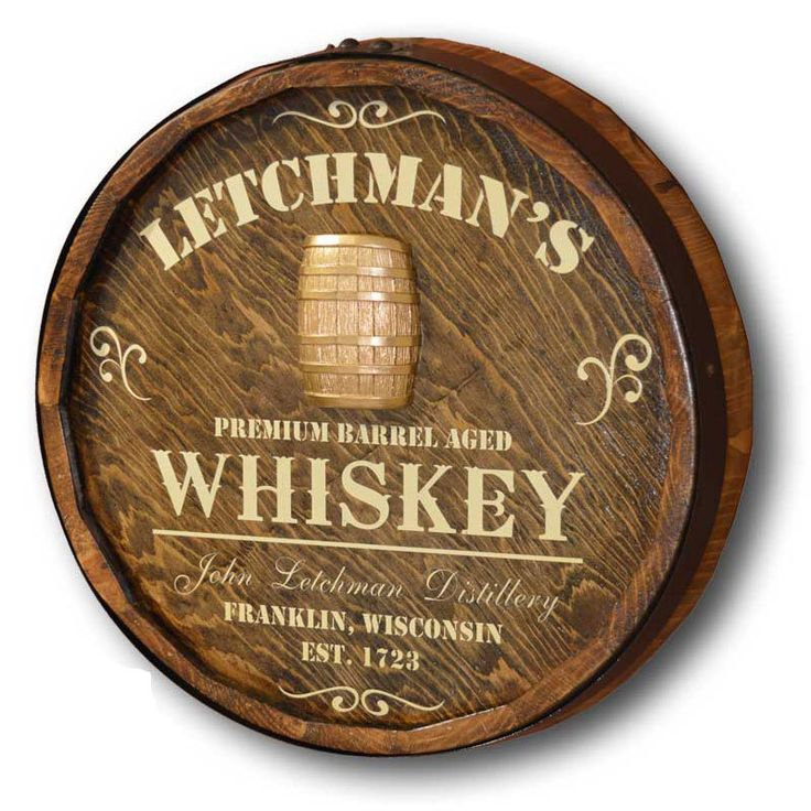 Northwest Gifts - Whiskey Distillery Quarter Barrel Sign Personalized, $139.95 (http://northwestgifts.com/whiskey-distillery-quarter-barrel-sign-personalized/)