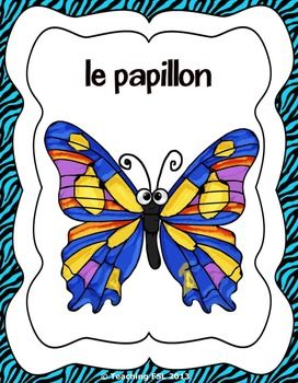French insect & animal flashcards/posters ($)