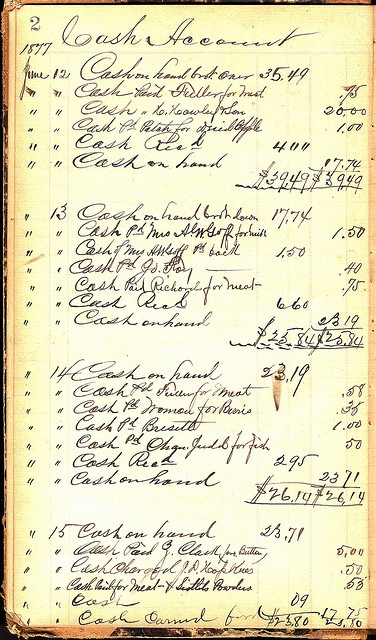 A cash ledger for a kitchen in 1877. Part of a wonderful collection of ledgers and receipts on flikr.