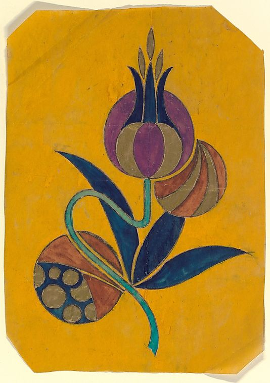 Vertical Panel with a Decorative Flower with Three Blue Leaves on a Yellow Background (Anonymous, French, 20th century, Art Deco)