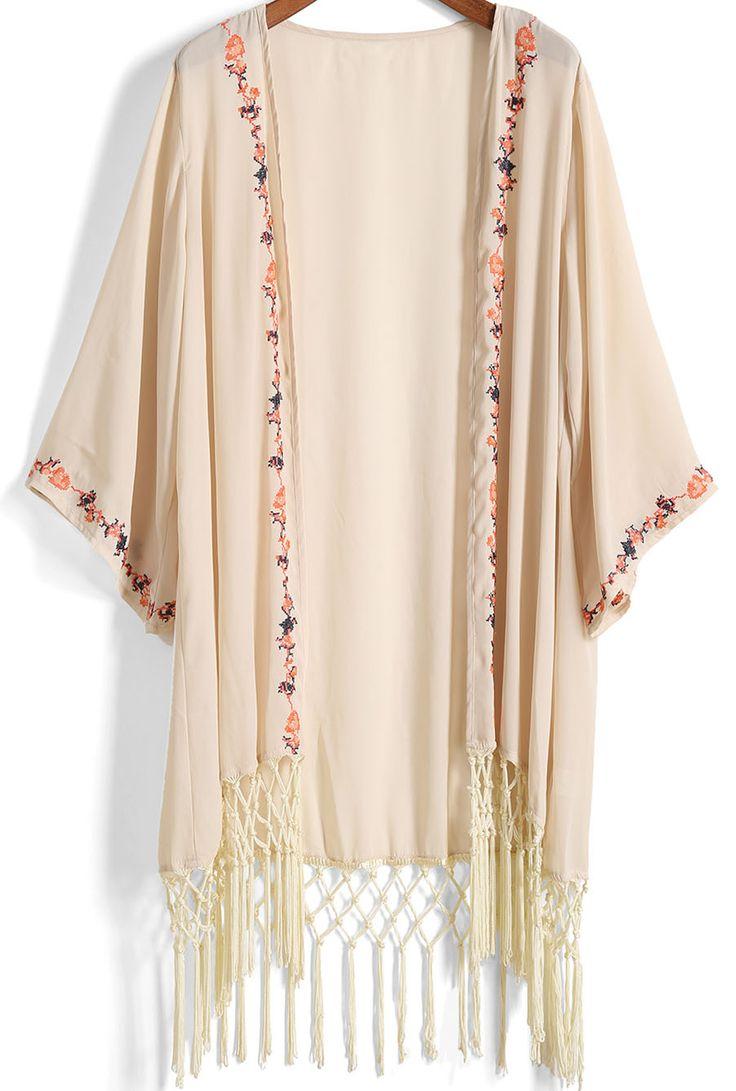 Apricot Embroidered Tassel Chiffon Kimono -SheIn(Sheinside)