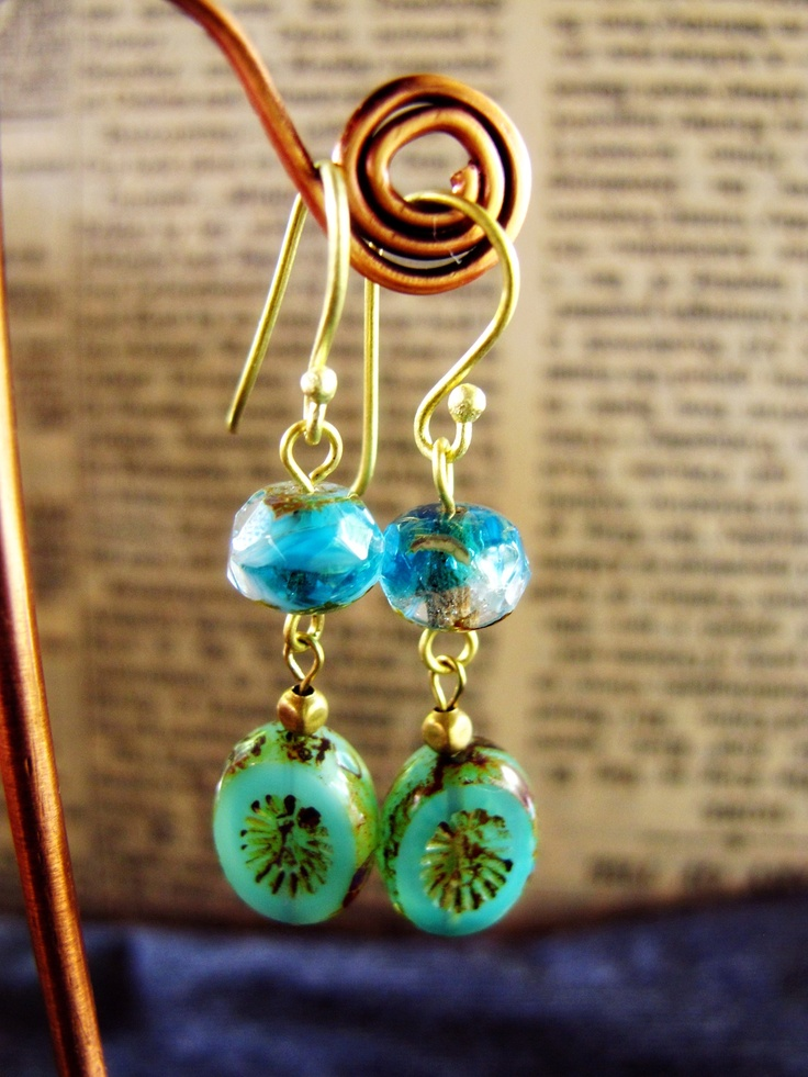 The Vintage Sky: Vintage Summer Collection 2012.  Handmade vintage style earrings with handmade czech glass beads in vintage brass tone.  Find her at: http://nutsiya.etsy.com