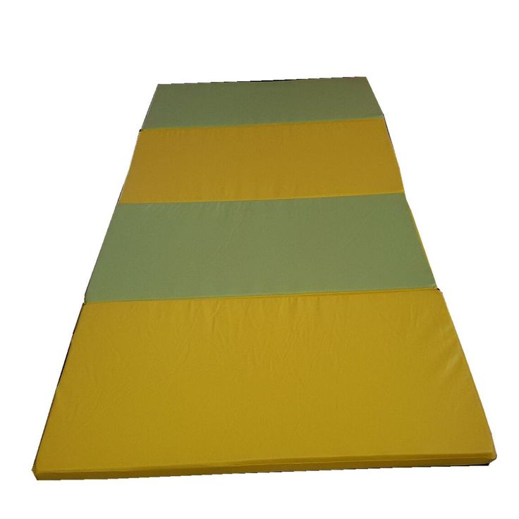 "5th Season 4' x 8' x 2"" Thick Gymnastics Tumbling Exercise Folding Martial Arts Mats with Hook and Loop Fasteners on 2 Sides Crosslink PE Foam Core (Yellow)"