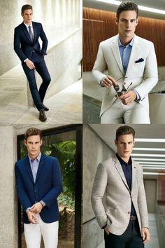 """As tendências em roupa social mudam sempre e o abotoamento (com um, dois ou três botões) é um dos pontos que mais se alternam no """"poder"""". Neste verão, a moda sugere o domínio absoluto dos paletós de dois botões. Dá para vestir em estilo traje social completo, com camisa e gravata, ou de maneira mais descontraída, usando camisa lisa ou estampada, polo e camiseta. Fica bacana usar terno ou costume com camisa social com colarinho fechado, mas sem gravata."""