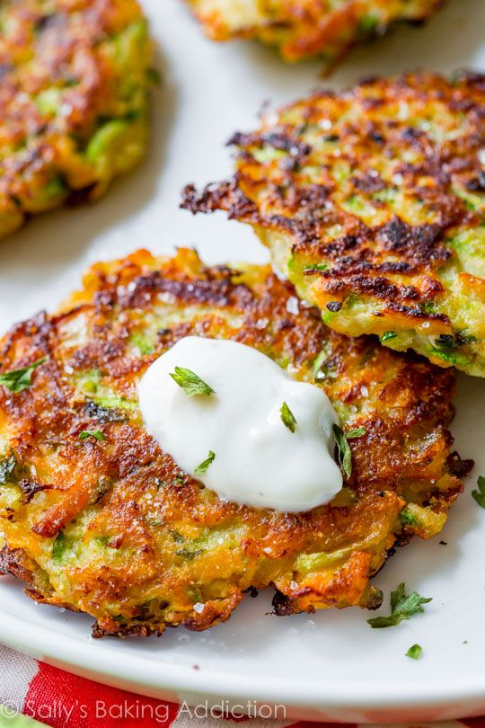 Zucchini Fritters with Garlic Herb Yogurt Sauce - Golden brown, crispy, and…