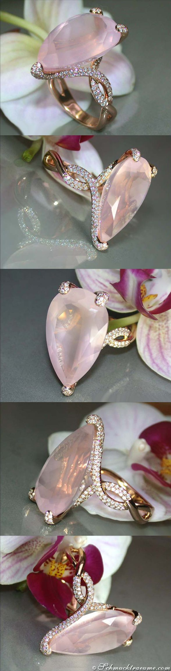 Terrific Rosequartz Diamond Ring, 16.83 ct. RG18K - Visit: schmucktraeume.com Like: https://www.facebook.com/pages/Noble-Juwelen/150871984924926 Mail: info@schmucktraeume.com