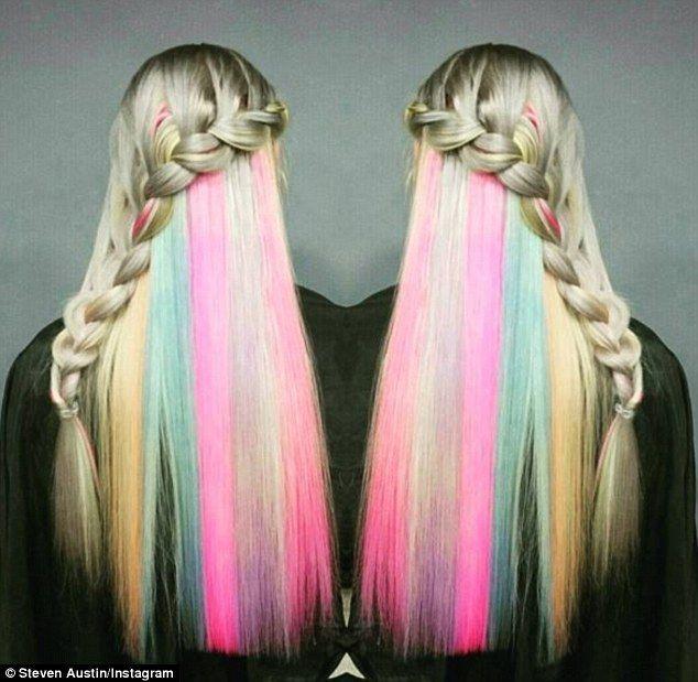 rainbow hair caché - Une tresse de côté
