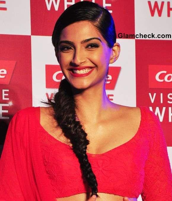 Bollywood actress Sonam Kapoor Sporting Fishtail Braid