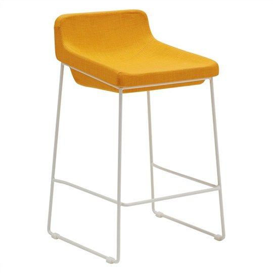 Volley Fabric Upholstered Bar Stool with Seat Back - Yellow - Bar Stools