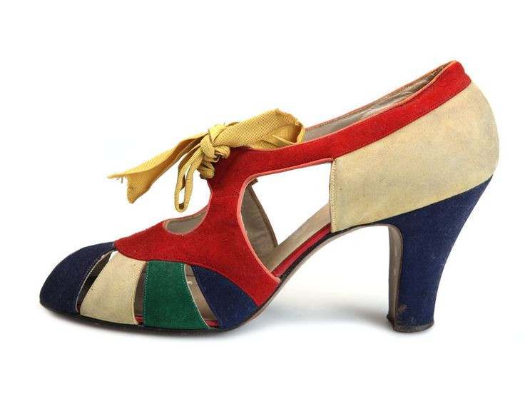 Shoe-Icons / 1930s Shoes / Open multi-color suede shoes with yellow ties by I.Miller. USA