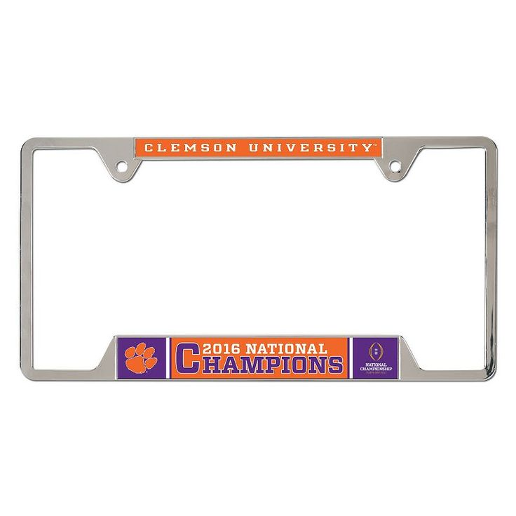 Clemson Tigers 2016 College Football Playoff National Champions Metal License Plate Frame, Multicolor