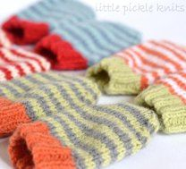4ply stripe baby mittens