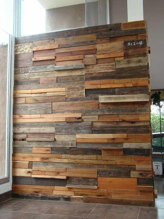 Terminada pared revestida en madera reciclada - Madera para paredes ...