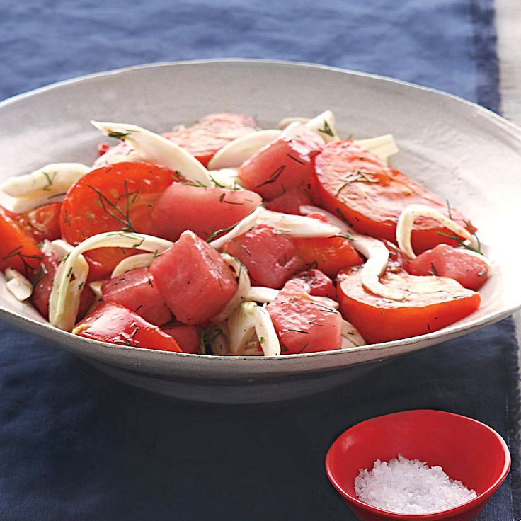 Juicy beefsteak tomatoes, sweet watermelon, and crisp fennel combine to create a refreshing end-of-summer salad.