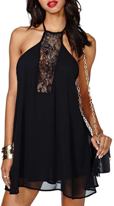 Backless Black Cami Dress With Lace Cutout is on sale now for - 25 % !