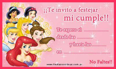 Tarjetita de cumpleaños con todas las princesas de Disney para imprimir. También podes encontrar una tarjetita con las princesas por serapado