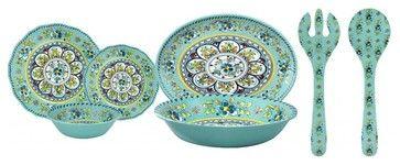 Le Cadeaux Madrid Turquoise 16 PC Dinnerware Set, 16 Piece Dinnerware Set - rustic - Dinnerware Sets - La Maisonware