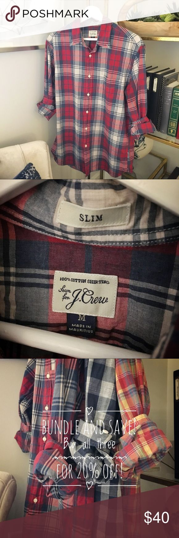 J.Crew Madras Shirt (Men's M Slim) Almost-new condition; husband only wore two or three times before deciding he is not a fan of slim fit. Buy all three shirts for 20% off. *Note: These are J.Crew shirts NOT the J.Crew Factory outlet brand. J.Crew Shirts Casual Button Down Shirts