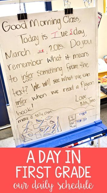 Take a look into another teacher's classroom with this first grade schedule. This is one example of how to fit in all the math, reading, writing, and phonics standards!