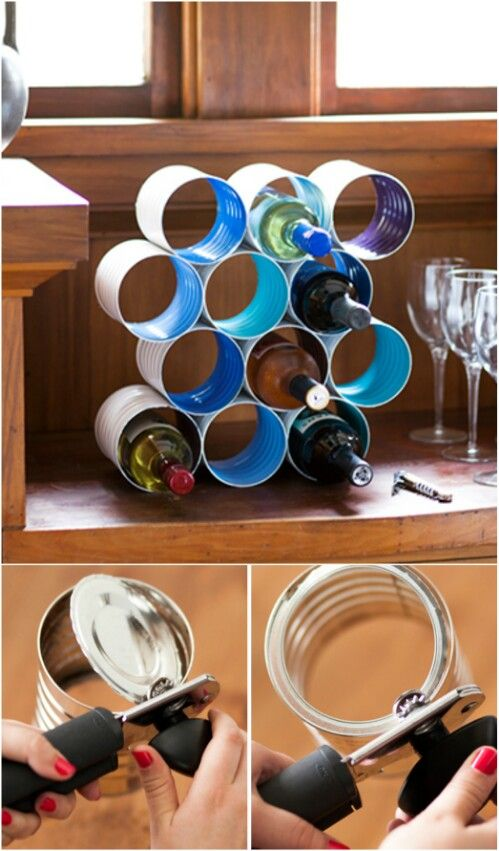 50 Jaw-Dropping Ideas for Upcycling Tin Cans Into Beautiful Household Items!  Tin Cans Are the Perfect Size for Making a Wine Rack