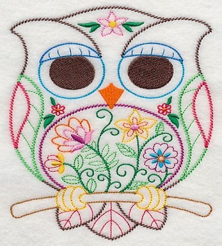 Adorable floral embroidered owl fabric sewing quilt block square