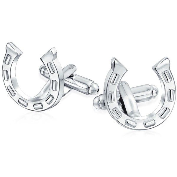 Bling Jewelry Stainless Steel Mens Equestrian Horseshoe Cufflinks ($13) ❤ liked on Polyvore featuring men's fashion, men's accessories, cuff links, grey and mens cuff links