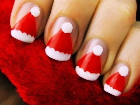 Santa hat nails: Holiday, Santa Hats, Nailart, Nail Designs, Christmas Nails, Makeup, Santa Nail, Nail Art, Santa Hat Nails