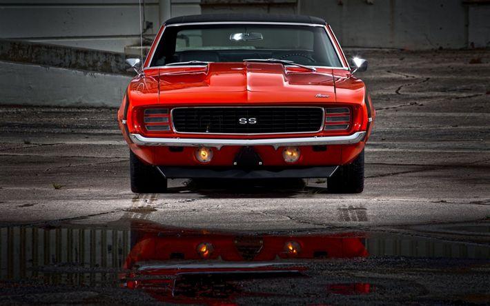 Hämta bilder Chevrolet Camaro SS, 1969, Retro sport bilar, röd Camaro, klassiska bilar, Chevy Camaro