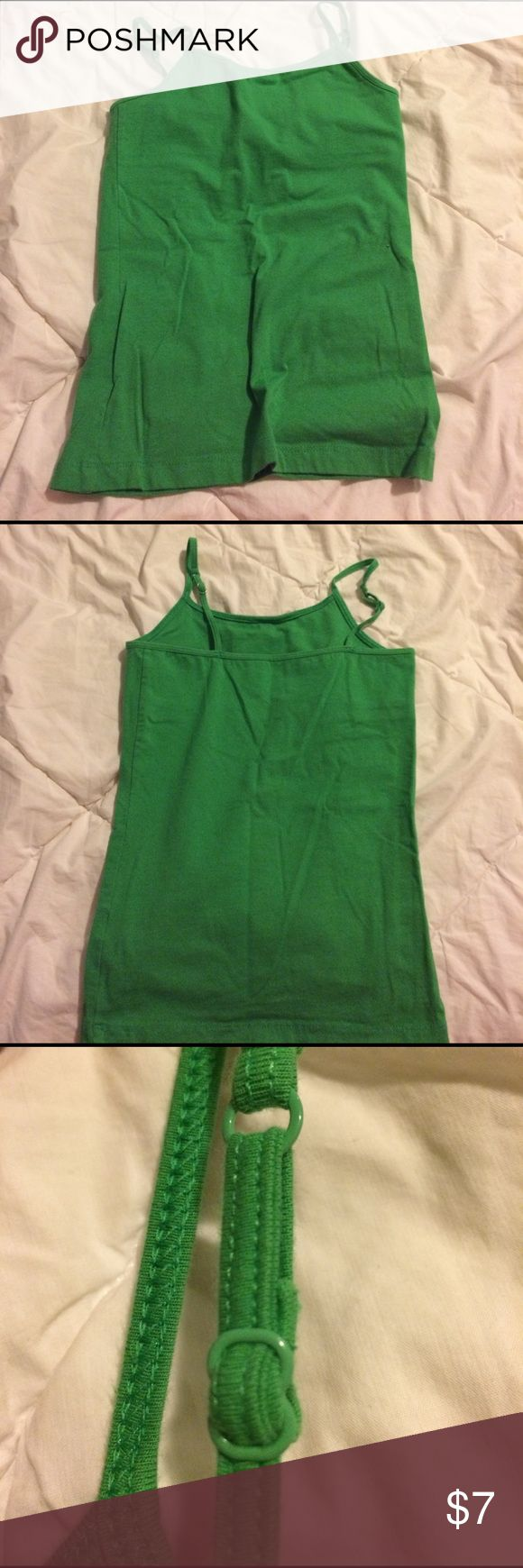 Girls green cami Girls green cami. Built in bra and adjustible straps (see pictures). Great for layering! Lightly worn.  size 10 Aeropostale Shirts & Tops Camisoles