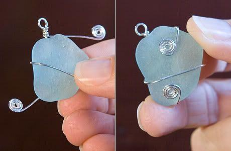 simple wire wrap for beach glass! scroll down a ways #Wire #Jewelry #Tutorials