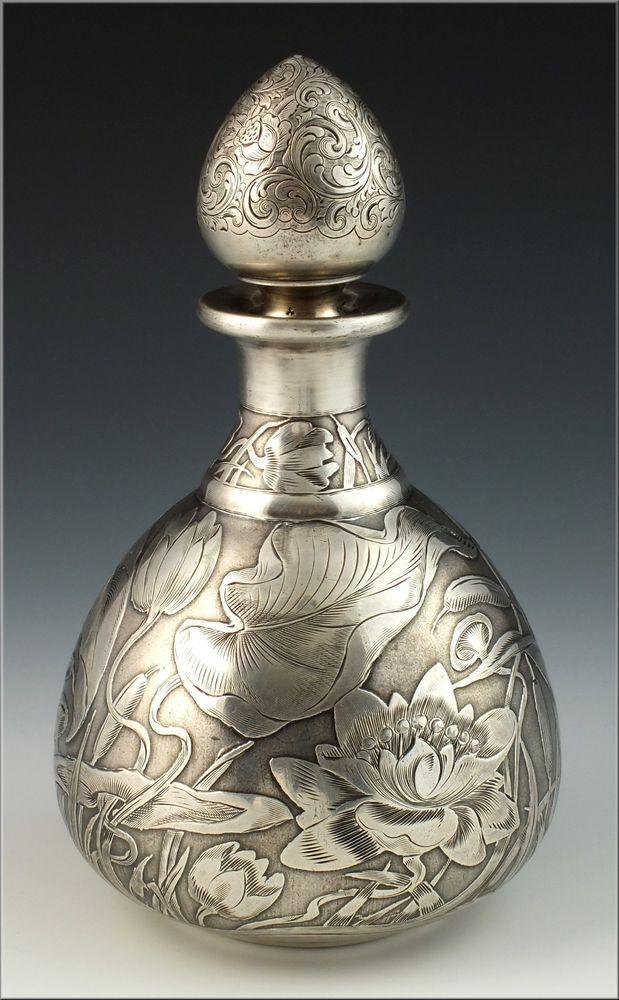 Art Nouveau Silver Perfume :Bottle